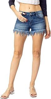 Kan Can 女式低腰下摆细节牛仔短裤 - KC9214