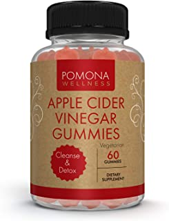 POMONA WELLNESS Apple Cider Vinegar Gummies with B Vitamins for Immune Support, Detox and Cleanse   Healthy Weight Managem...