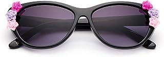Newbee Fashion - 女童时尚太阳镜 Cateye 可爱太阳镜带花朵防紫外线带袋(0-5 岁)