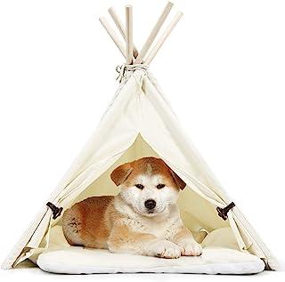 Tangkula 宠物圆锥形帐篷,带厚防滑垫,33 英寸便携式宠物屋 带小猫兔的稳定结构,可水洗室内室外宠物*床豪华舒适洞穴(米色)