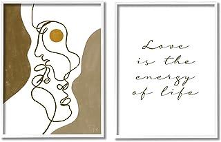 Stupell Industries Love is Energy Phrase Abstract Faces 情侣线条,Birch&Ink 白色带框墙艺术,2 件,每件 24 x 30,棕色
