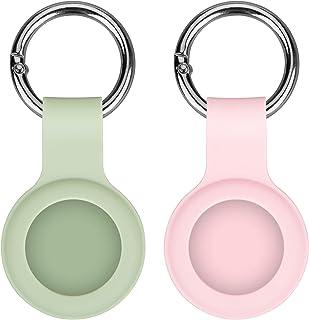 AirTag 保护套硅胶保护套适用于 AirTag Finder 带钥匙扣易于携带的防刮擦 适用于 AirTags Holder (2021) 2 件装,*和粉色
