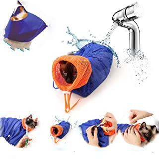 [2 件装] 猫*包和猫眼罩,沐浴网袋,可调节透气网眼防咬防刮猫束缚袋适用于猫沐浴*检查*装饰