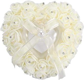 Ring Bearer 心形枕头环轴承枕适用于婚礼、戒指枕、浪漫心形婚礼戒指盒玫瑰水钻装饰戒指枕(米色)