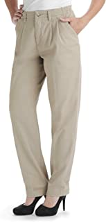 Lee Women's Petite Relaxed Fit Side Elastic Pleated Pant, Taupe, 8 Petite