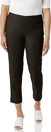SLIM-SATION 女式套穿纯色细线斜纹露脐裤,真正 L 口袋和缺口下摆