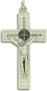 独特圣本科目十字架项链 7.62cm 吊坠十字架金属质感白色搪瓷礼品盒 W。