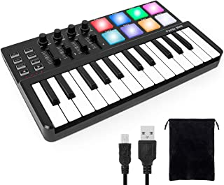 Worlde Panda 迷你便携式 25 键 USB 键盘 MIDI 控制器 带专业软件套装 彩色鼓垫和手提包