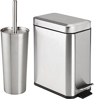 mDesign 独立式马桶刷和支架和矩形阶梯垃圾桶垃圾桶用于浴室存储 - 不锈钢