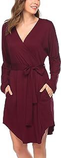 Ekouae 睡袍女式浴袍长袖和服长袍轻便睡衣柔软家居服 S-XXL 码