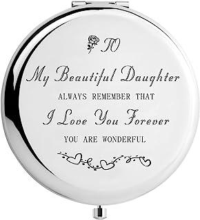女士礼物有意义化妆镜, I Love You 旅行镜, 银色, 2.6inch diameter