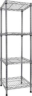 4 层存储线架,可调节高度架子展示架,适用于洗衣浴室厨房,11.8 英寸宽 x 11.8 英寸深 x 38.8 英寸高(银色,11.8 宽 x 11.8 深 x 38.8 高)