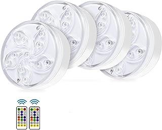 WGCC 潜水式 LED 泳池灯,IP68 防水淋浴 LED 灯,磁性浴缸灯带吸盘,射频遥控池 LED 灯水下适用于池塘喷泉水族馆花瓶花园派对 - 4 件