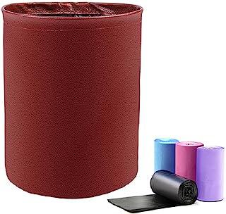 Luckindom 汽车垃圾桶 可折叠自动垃圾桶 便携式弹出式皮革汽车垃圾桶 防水汽车存储收纳收纳袋 汽车垃圾篮容器(红色)