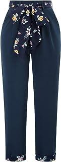 GRACE KARIN 女式直筒裤,带口袋腰带,弹力高腰长裤