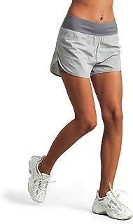 M MOTEEPI 女式高腰跑步短裤带衬里运动短裤带手机口袋双层