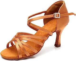"RoseMoli 女式拉丁舞鞋缎面专业交际舞厅萨尔萨练习表演舞鞋 棕褐色-2.8"" 鞋跟 5"