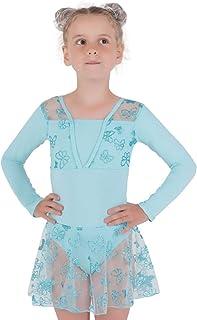 NOLA 女孩体操紧身连衣裤,长袖和裙 - 舞蹈芭蕾紧身衣闪光套装,配蓬蓬裙,适合 4-10 岁