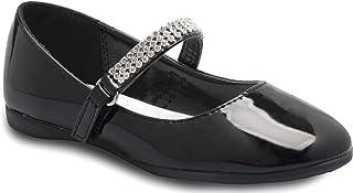 Olivia K 女童 Mary Jane 芭蕾平底鞋 - 鞋带上有水钻 - 易于魔术贴一脚蹬