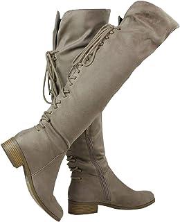 ShoBeautiful 女式过膝靴 背面系带低跟抽绳礼服大腿高帮靴 (TM)