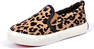 Fashionme 幼儿豹纹印花鞋,男孩女孩帆布运动鞋休闲一脚蹬鞋儿童乐福鞋