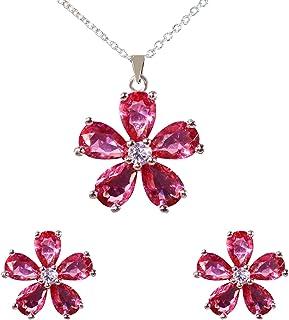 Ekavtor 女孩首饰套装 AAA 方晶锆石吊坠项链和耳环,适合女士和女孩