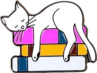 Oh Hello Co, 猫阅读珐琅别针,可爱完美的配件,适合背包、夹克、翻领或帽子
