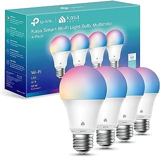 Kasa 智能灯泡,全色可调光智能 WiFi 灯泡兼容 Alexa 和 Google Home,A19,9W 800流明,仅限 2.4GHz,无需集线器,4 件装