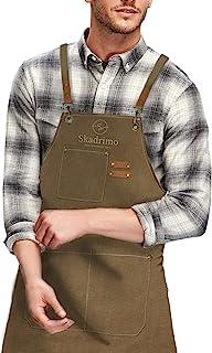 Skadrimo 耐用厨房厨师帆布围裙,男女均适用,带大口袋和可调节肩带