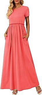 Zattcas 女式花卉长裙口袋短袖休闲夏季长裙.