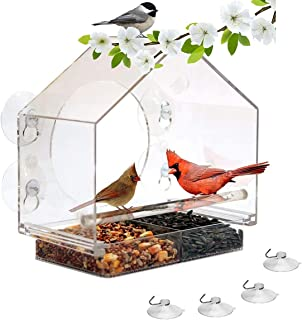 Premium Zone 窗户鸟屋喂食器带 4 个强力吸盘滑动种子托盘支架鸟屋形状大型户外喂鸟器,4 个额外的吸盘