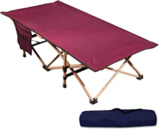 REDCAMP 超长儿童婴儿床,适用于露营,坚固的钢制折叠幼儿婴儿床,适用于旅行*,便携式带手提袋,酒红色 全新