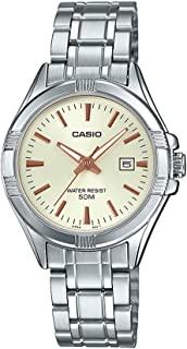 Casio 卡西欧 #LTP1308D-9AV 女式不锈钢模拟日期香槟表盘手表