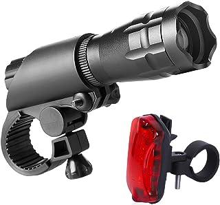 HHD 自行车灯套装 - 超亮 LED 灯适合您的自行车 - 易于安装的前灯和尾灯带快速释放系统 - *佳前后照明 - 适合所有自行车