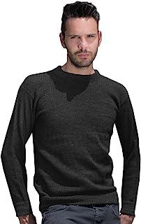 Gamboa 男士保暖柔软羊驼圆领毛衣 - 光滑炭黑色