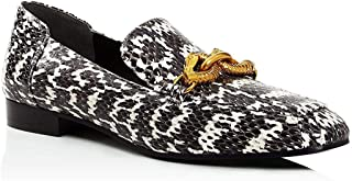 Tory Burch 女士黑色白色皮革 Jessa 乐福鞋金色搭扣路面烟灰色