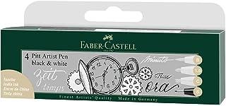 Faber Castell fc167151 Pitt 藝術筆 - 黑色/白色(4 支裝)