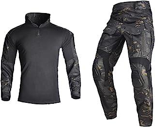 HAN·WILD 男式战术军装长袖防撕裂制服战斗衬衫和裤子肘部护膝
