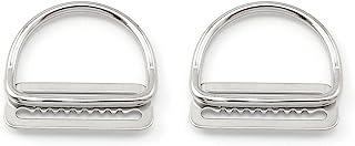 heyous 2 件套不锈钢 5 厘米/2 英寸重量皮带扣塞和弯曲 D 环织带*带固定器塞子自由 BCD 配件,银色