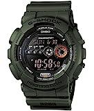 Casio 卡西欧 中性手表 军绿颜色树脂,带液晶显示屏和自动LED灯-防震和防水,Black/Green,Uni