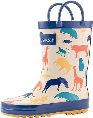 oakiwear 儿童橡胶雨靴带 easy-on 手柄 | Timberland Critters ,森林动物,粉色花朵
