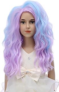 DUDUWIG 彩色假发 适合女孩 20 英寸长多色蓬松角色扮演假发 万圣节服装 粉色 紫色 蓝色 假发 适合女士和女孩(成人/儿童)