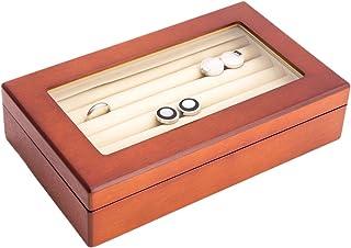 木质袖扣盒,带玻璃顶部和丝绒衬里