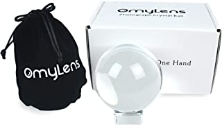 Omylens 80 毫米摄影水晶球,K9 镜头球,带支架和丝绸袋,*魔术球装饰,*球,(8 厘米/3.15 英寸透明水晶球)