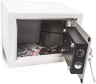 Relaxdays 迷你保险箱,配有钥匙,钢制,双螺栓锁,坚固,小巧,长宽高: 17 x 23 x 17厘米,浅灰色