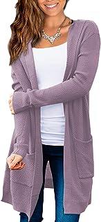Beecarchil 女式长袖连帽衫毛衣前开襟开衫带口袋