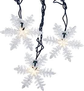 Kurt Adler White Snowflake 10 ct. Light Set 透明