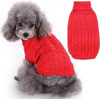 SunteeLong 高领针织狗狗毛衣小狗毛衣保暖宠物冬季衣服猫衣服小狗狗毛衣适合寒冷天气(红色,S 码)