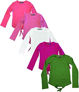 MISS POPULAR 5 件套女童长袖衬衫套装,正面系带棉质圆领柔软面料,多种颜色,尺码 4-16