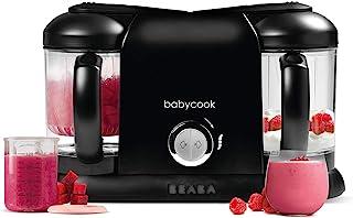 BÉABA – Babycook Duo – 4合1婴儿辅食机 – 温和蒸锅 – 15分钟快速蒸锅 – XXL 容量:2x200毫升 – 黑色